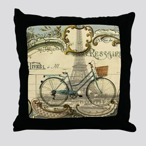 eiffel tower paris bike Throw Pillow