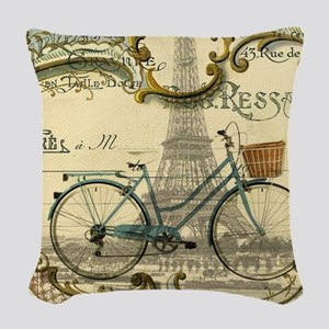 eiffel tower paris bike Woven Throw Pillow