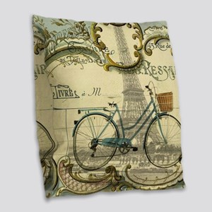 eiffel tower paris bike Burlap Throw Pillow