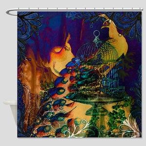 romantic paris vintage peacock Shower Curtain
