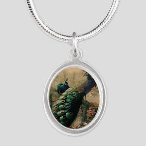 romantic paris vintage peacoc Silver Oval Necklace