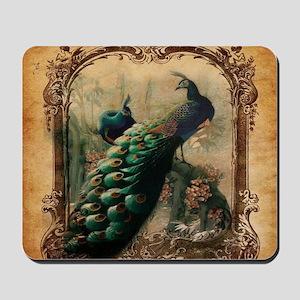 romantic paris vintage peacock Mousepad