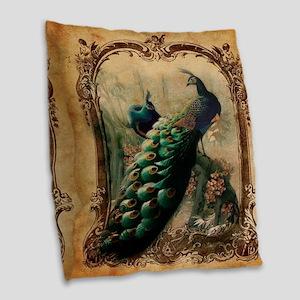 romantic paris vintage peacock Burlap Throw Pillow