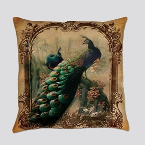 romantic paris vintage peacock Everyday Pillow