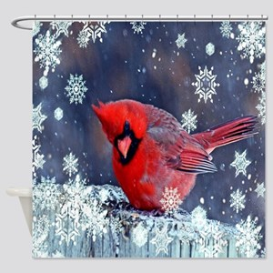 winter snow red cardinal Shower Curtain