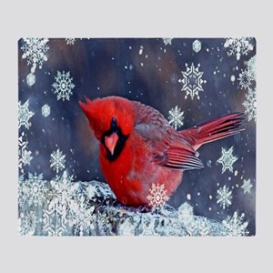 winter snow red cardinal Throw Blanket