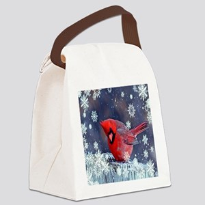 winter snow red cardinal Canvas Lunch Bag