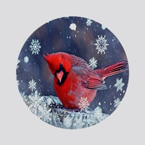 winter snow red cardinal Round Ornament