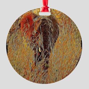 wildlife art african elephant Round Ornament