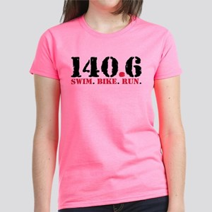 140.6 Swim Bike Run Women's Dark T-Shirt