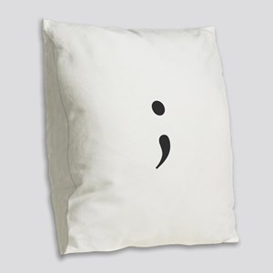 Semi Colon Burlap Throw Pillow