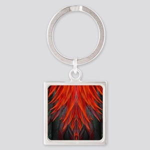 Abstract Feathers Square Keychain
