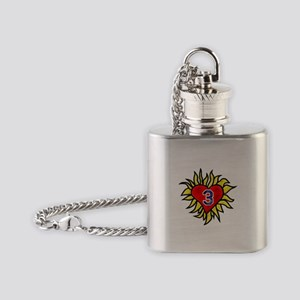 Flaming Heart 3 Flask Necklace