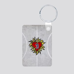 Flaming Heart 3 Aluminum Photo Keychain