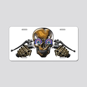 Google Skull Biker Aluminum License Plate