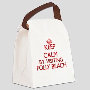 Keep calm by visiting Folly Beach Canvas Lunch Bag
