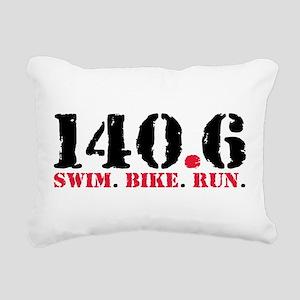140.6 Swim Bike Run Rectangular Canvas Pillow