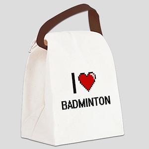 I Love Badminton Digitial Design Canvas Lunch Bag