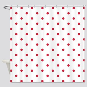 Red Cherry Polka Dots Pattern Sm Shower Curtain