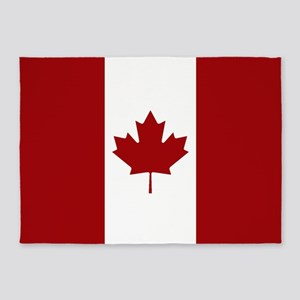 Canada: Canadian Flag (Red & White) 5'x7'Area Rug