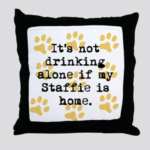 If My Staffie Is Home Throw Pillow