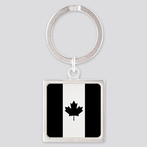 Canada: Black Military Flag Square Keychain