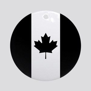 Canada: Black Military Flag Round Ornament