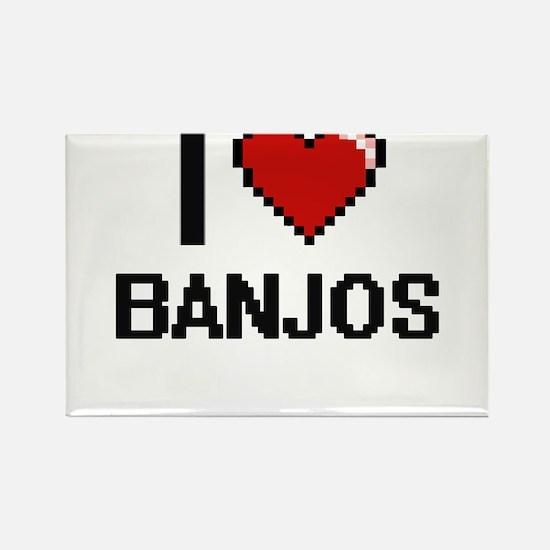 I Love Banjos Digitial Design Magnets