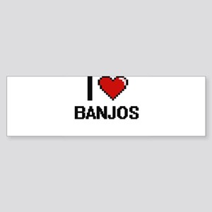 I Love Banjos Digitial Design Bumper Sticker