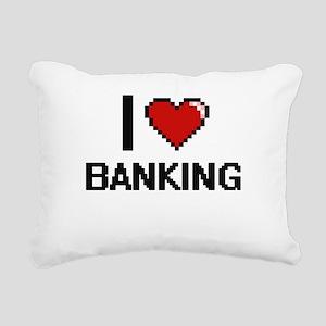 I Love Banking Digitial Rectangular Canvas Pillow