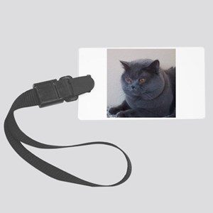blue British Shorthair cat Large Luggage Tag