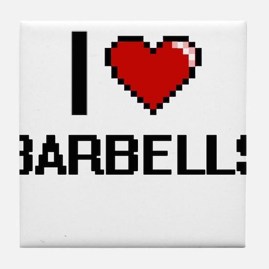I Love Barbells Digitial Design Tile Coaster
