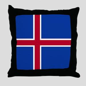 Square Icelandic Flag Throw Pillow