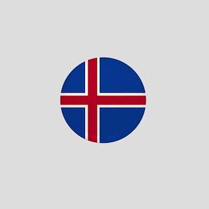 Square Icelandic Flag Mini Button