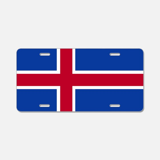 Square Icelandic Flag Aluminum License Plate