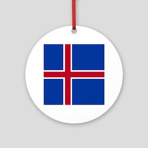 Square Icelandic Flag Ornament (Round)