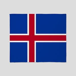 Square Icelandic Flag Throw Blanket