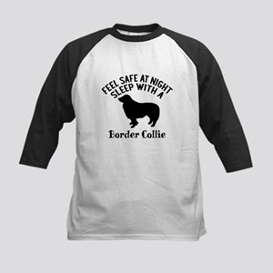 Sleep With Border Collie Dog Des Kids Baseball Tee
