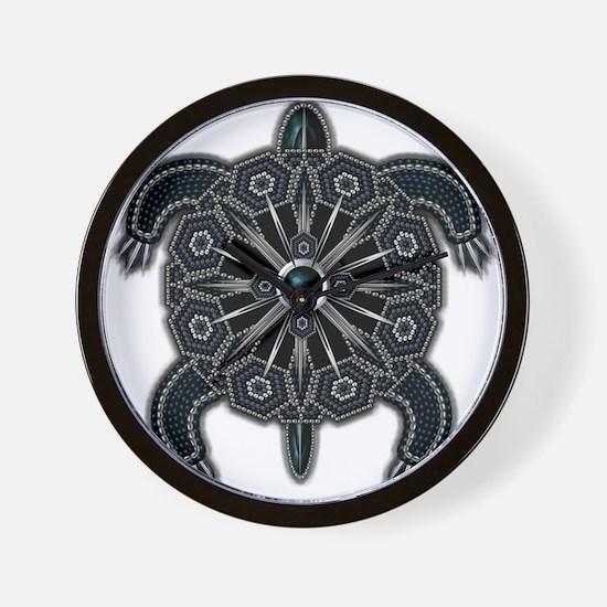 Black Native American Beadwork Turtle Wall Clock
