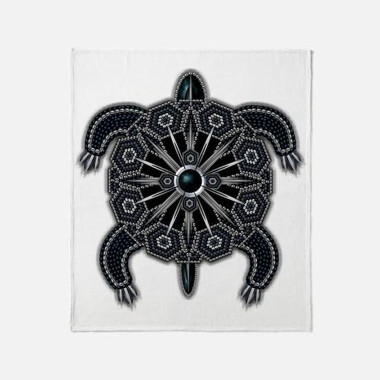 Black Native American Beadwork Turtl Throw Blanket
