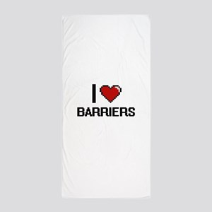 I Love Barriers Digitial Design Beach Towel