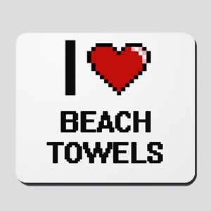 I Love Beach Towels Digitial Design Mousepad