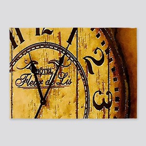 rustic barn wood vintage clock 5'x7'Area Rug