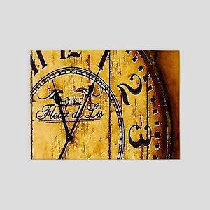 rustic barn wood vintage clock 5'x7'Area Rug