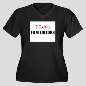 I Love FILM EDITORS Women's Plus Size V-Neck Dark