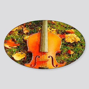 romantic fall leaves violin Sticker