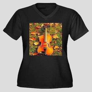 romantic fall leaves violin Plus Size T-Shirt