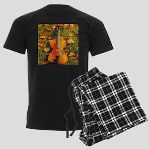 romantic fall leaves violin Men's Dark Pajamas