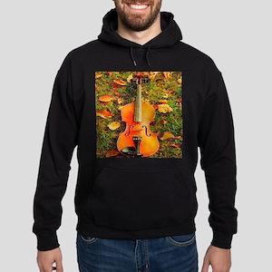 romantic fall leaves violin Hoodie (dark)