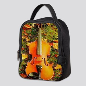 romantic fall leaves violin Neoprene Lunch Bag